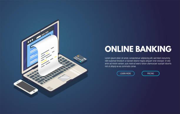 オンライン ・ バンキングのバナー - エレクトロニクス産業点のイラスト素材/クリップアート素材/マンガ素材/アイコン素材