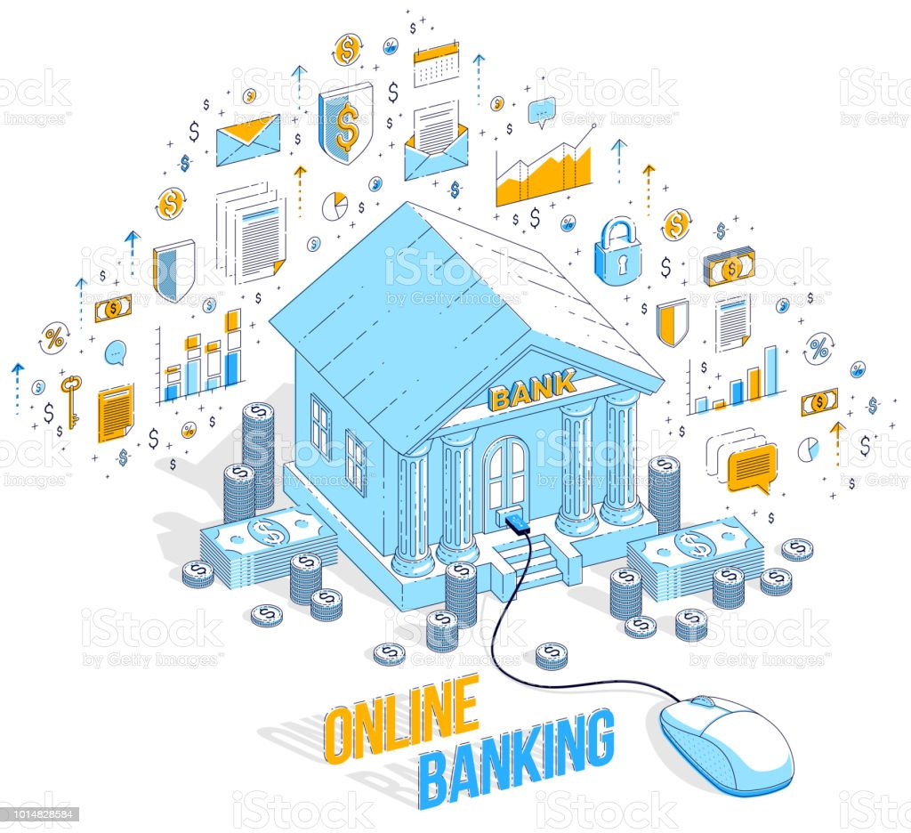 online banking concept bank building with computer mouse connectedonline banking concept, bank building with computer mouse connected isolated on white background vector 3d isometric business illustration with icons,