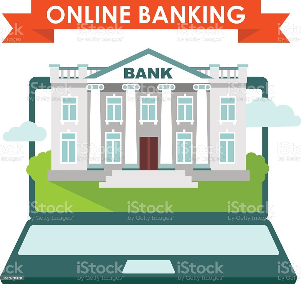 Online banking concept vector art illustration