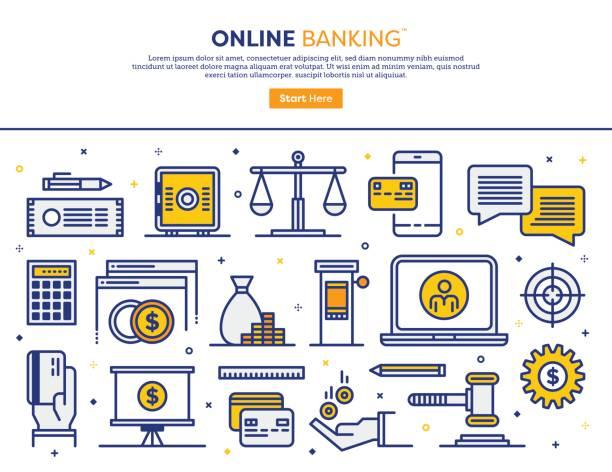 online-banking-konzept - schließfachsachen stock-grafiken, -clipart, -cartoons und -symbole
