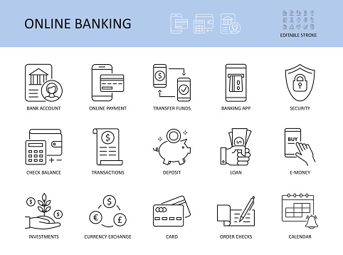 Online banking. Editable stroke vector icons. Bank account emoney transfer funds online payment. List of recent transaction security loan deposit check balance banking app. Management investment card