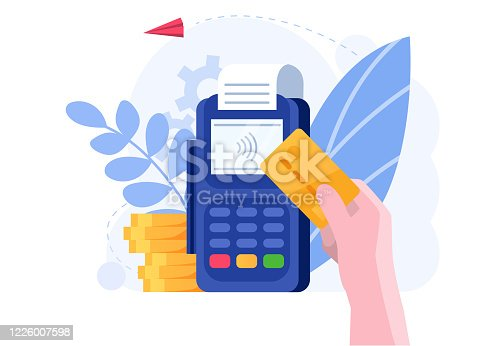 Online banking, handy credit card payment concept and vector illustration on white background. Online payment in Internet, store and market. Digital age and modern payment technology. Flat style.