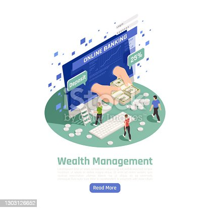Business private bank accounts online management easy reliable secure with associated credit debits cards isometric composition vector illustration