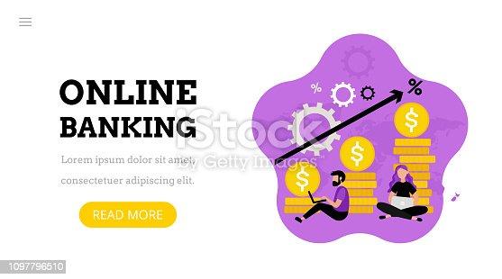 istock Online banking. Landing page 1097796510