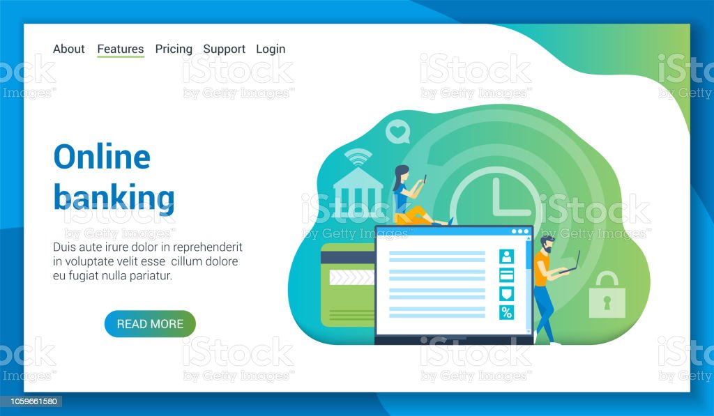 Online Banking Lp Template Stock Illustration - Download