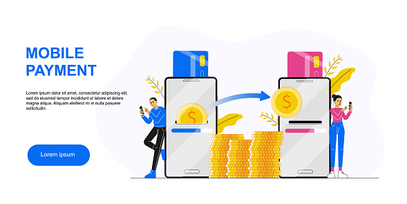 Online banking. Man sending money to woman with smartphone. Concept of secure mobile payment, card to card money transfer service, transaction, donation. Landing page template. Vector illustration.