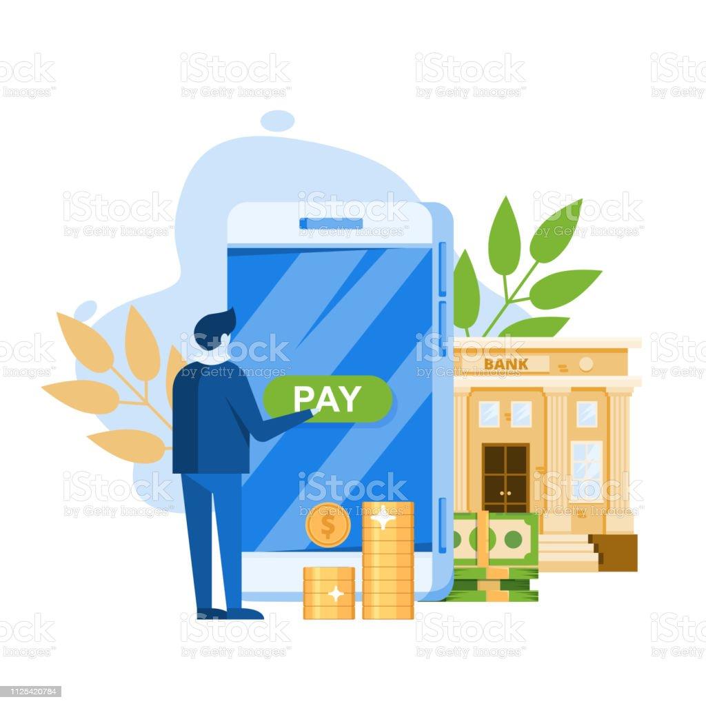 Vector Illustration For Online Banking Concept For Mobile Bank And Internet Payment Flat Banner Eps 10