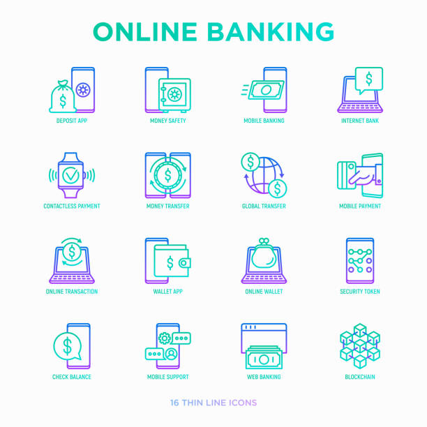 online banking thin line icons set: deposit app, money safety, internet bank, contactless payment, credit card, online transaction, check balance, mobile support, blockchain. vector illustration. - electronic banking stock illustrations