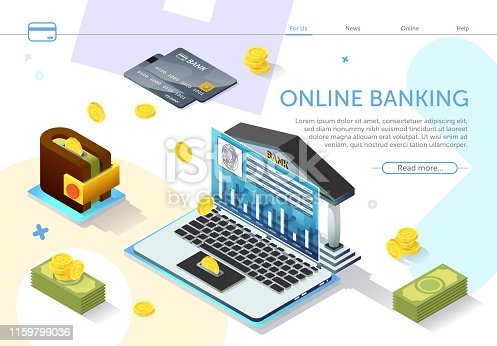 Online Banking on Laptop Monitor Screen. Types Monetary Units. Online Payment System. Internet Service. Modern Technology. Perform Transaction. Payment System on Laptop. Vector Illustration.