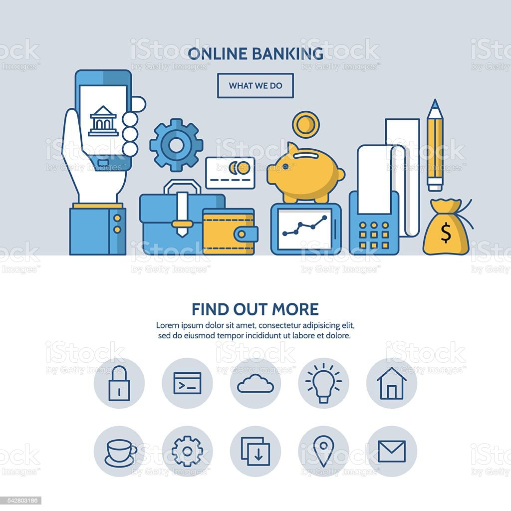 Online banking website hero image concept. One page website design vector art illustration