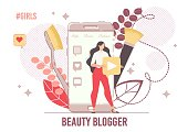Young Woman Developing Internet Video Channel about Cosmetics Trends, Makeup Tutorials. Online Beauty Trading Platform Creation. Fashion Blogging in Social Media Network. Internet Influencer