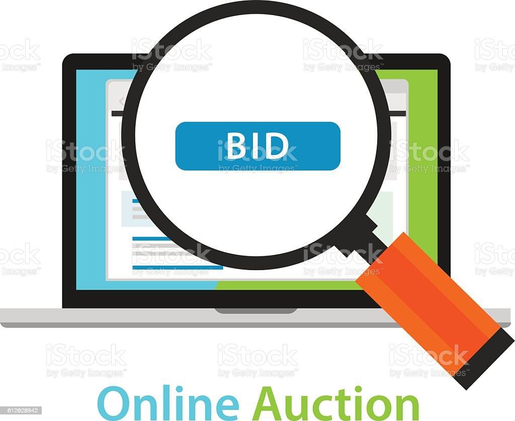 online bidding auction laptop bid button concept icon vector art illustration