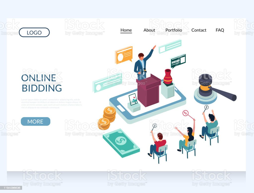 Online Bidding Vector Website Landing Page Design Template Stock Illustration Download Image Now Istock
