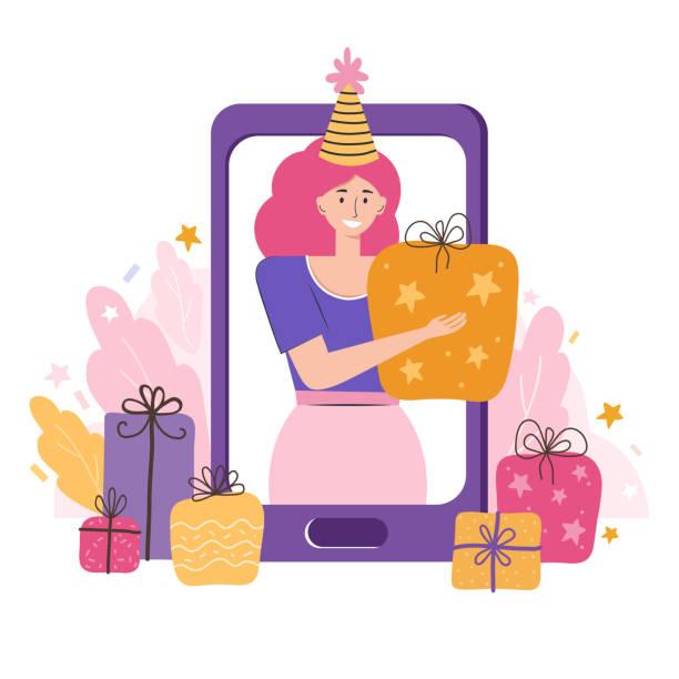 ilustraciones, imágenes clip art, dibujos animados e iconos de stock de fiesta de cumpleaños en línea, vacaciones, año nuevo, navidad. novia desea un feliz cumpleaños y da un regalo. conocer amigos en videoconferencia o chat. comunicación a través de smartphone. ilustración vectorial - zoom meeting