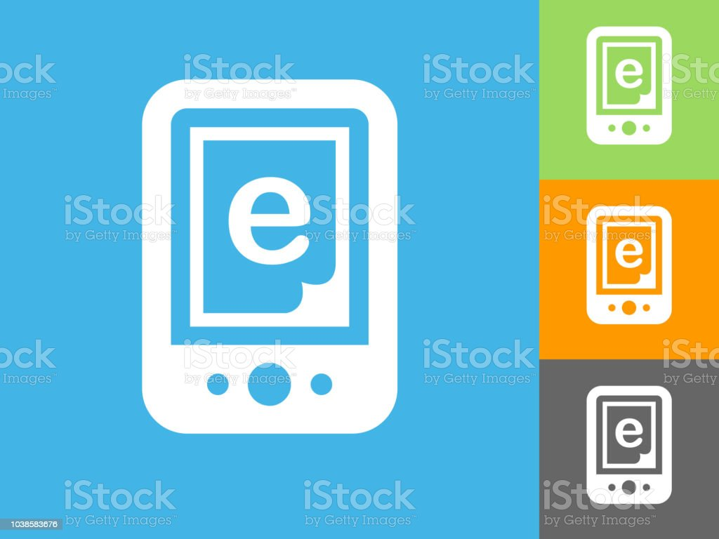 Online Book Flat Icon On Blue Background Stock Vector Art
