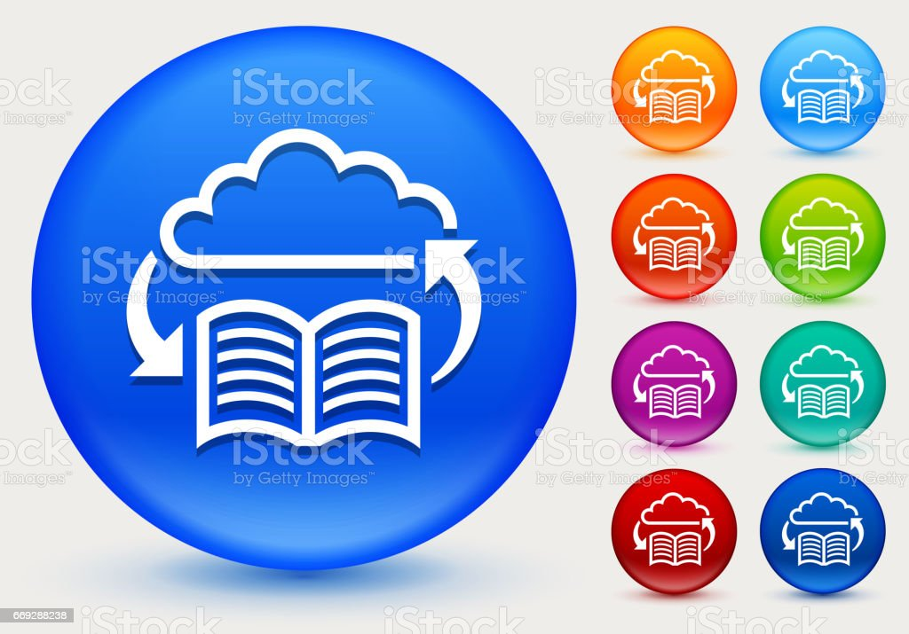 Online Book Icon on Shiny Color Circle Buttons. The icon is...