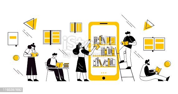 Online book library concept. Vector graphic illustration with characters reading books online on the smartphone. Concept for website and mobile website development.