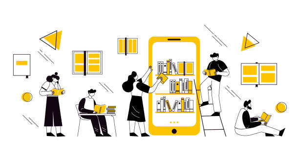 Online book library concept. Vector graphic illustration with characters reading books online on the smartphone. Online book library concept. Vector graphic illustration with characters reading books online on the smartphone. Concept for website and mobile website development. literature stock illustrations