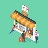Isometric flat vector concept of online bookstore, electronic library, ebook shop, education and reading.