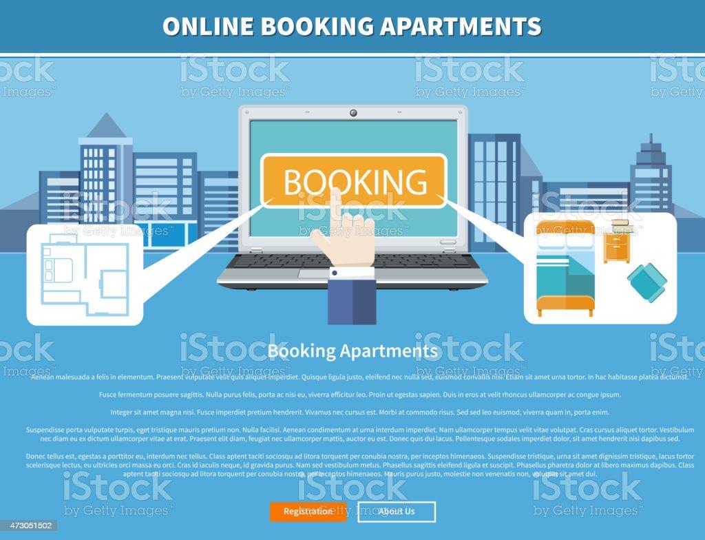 Online Booking Apartments vector art illustration