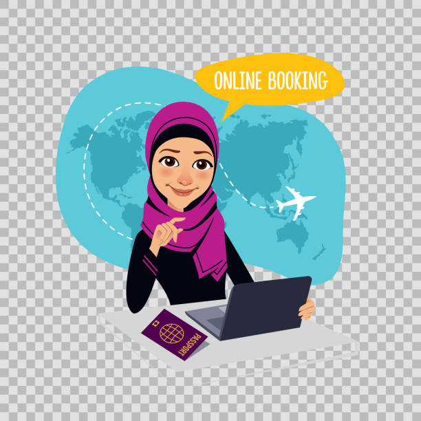 online booking banner on transparent background. air tickets online booking. arab woman selling airplane tickets - travel agent stock illustrations, clip art, cartoons, & icons