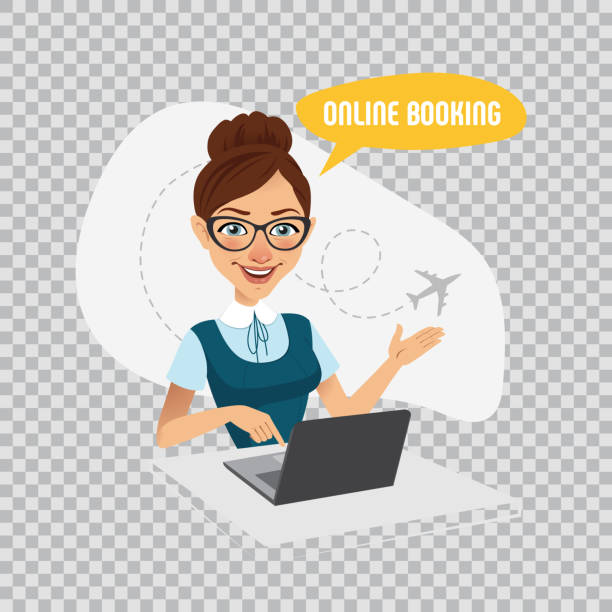 online booking banner on transparent background.air tickets online booking. woman sitting at table and selling tickets - travel agent stock illustrations, clip art, cartoons, & icons