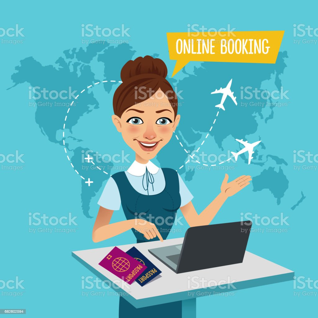 Online booking banner. Online Flight Booking. Travel agent stands at table and makes out the purchase of tickets. - Illustration vectorielle