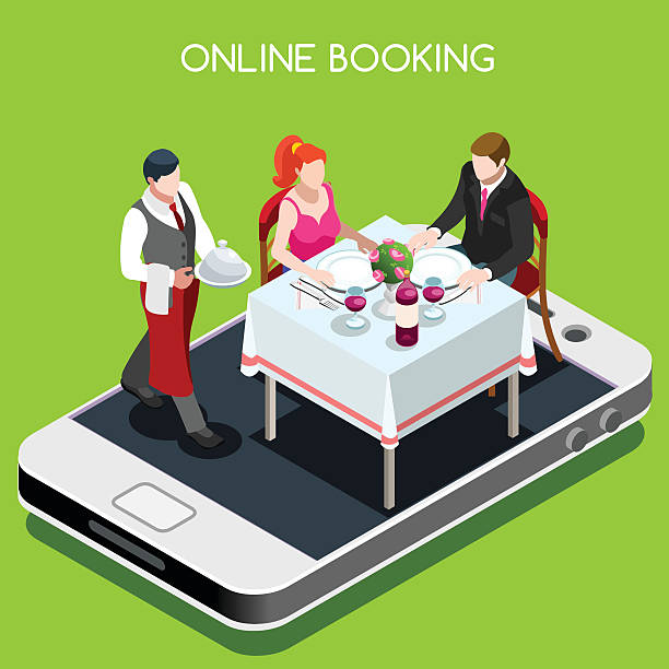 Online Booking Isometric People Online booking reservation concept. 3D flat isometric people elements online reserved table in restaurant. wildlife reserve stock illustrations