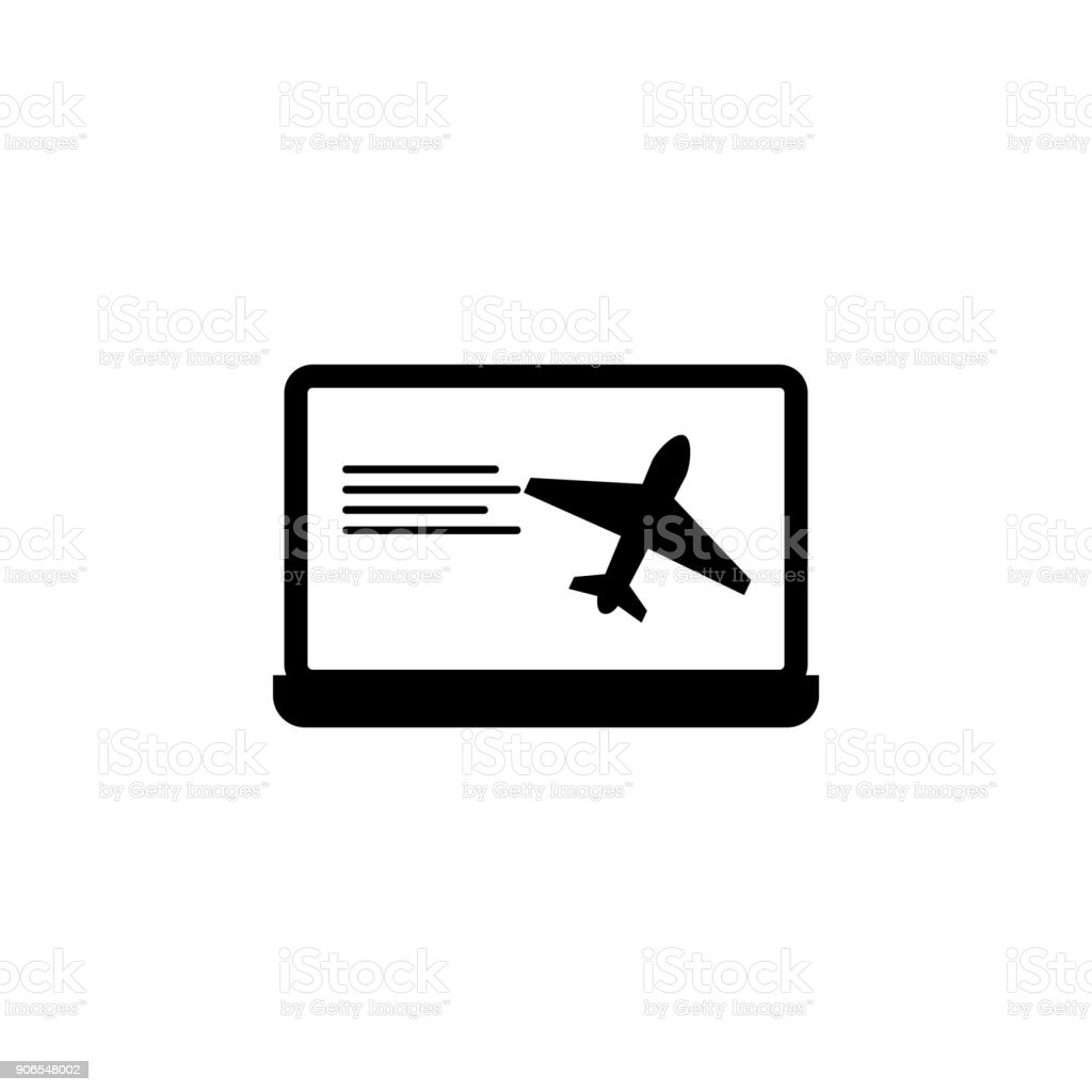 Online Booking Of Airplane Tickets Icon Element Of Airport