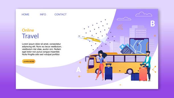 Online-Buchungsservice für Travel Landing Page – Vektorgrafik