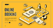 Booking tickets, reserving hotel room online service isometric vector web banner, landing page. Passport with boarding pass, apartment key and baggage bag on mobile phone screen line art illustration