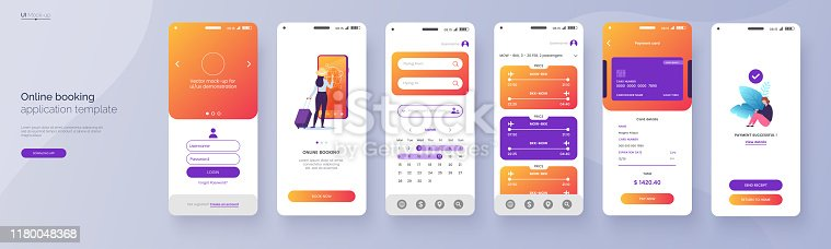 Online booking service mobile application template. UI, UX, GUI design elements. Travel application wireframe. User Interface kit isolated on grey background. Vector eps 10.
