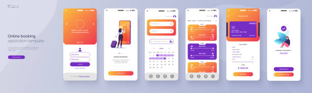 online booking service mobile application template. ui, ux, gui design elements. travel application wireframe. user interface kit isolated on grey background. vector eps 10. - graficzny interfejs użytkownika stock illustrations