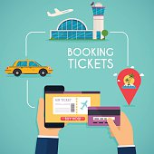 Online booking ticked. Buy Ticket Online. Traveling on airplane,