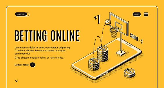 Online bookmaker landing page vector template