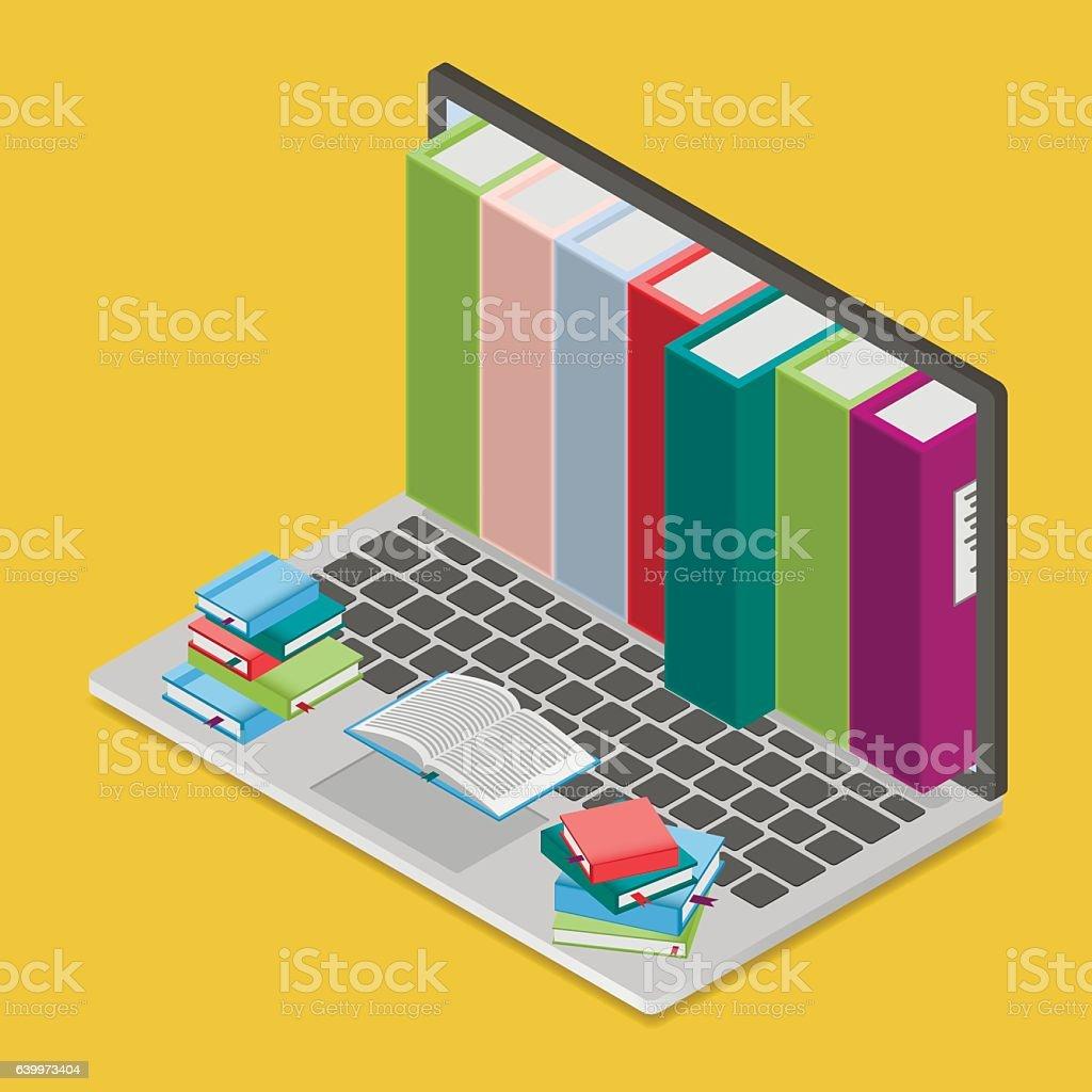 Online books shop vector art illustration