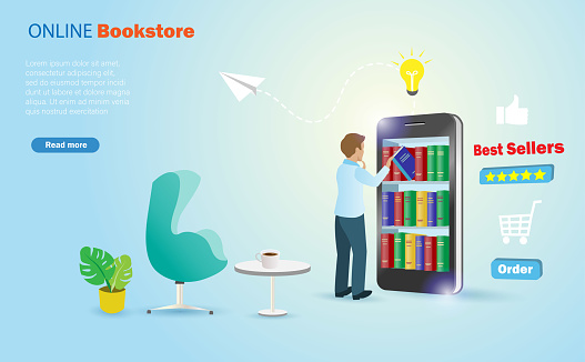 Online bookstore on smart phone, books delivery application. Man choosing books in shelves on mobile phone screen.