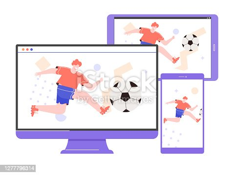 istock Online broadcast of soccer. Watching sports on different devices computer, tablet, smartphone. Male player on device screens. Vector flat illustration. 1277796314