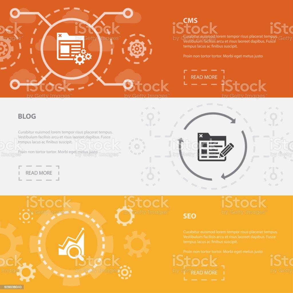 Onlinegeschäft 3 Horizontale Webseite Banner Vorlage Mit Cms Blog ...