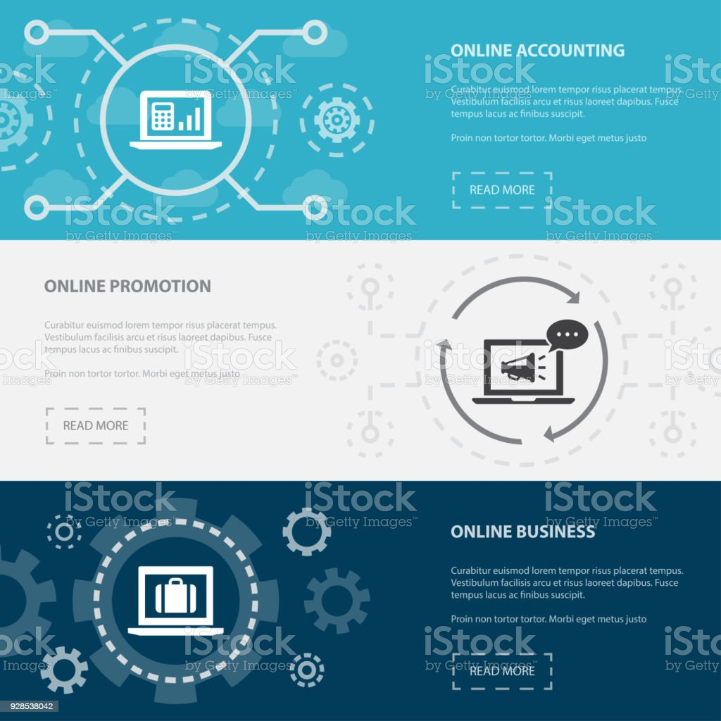 Online Business 3 Horizontal Webpage Banners Template With Online