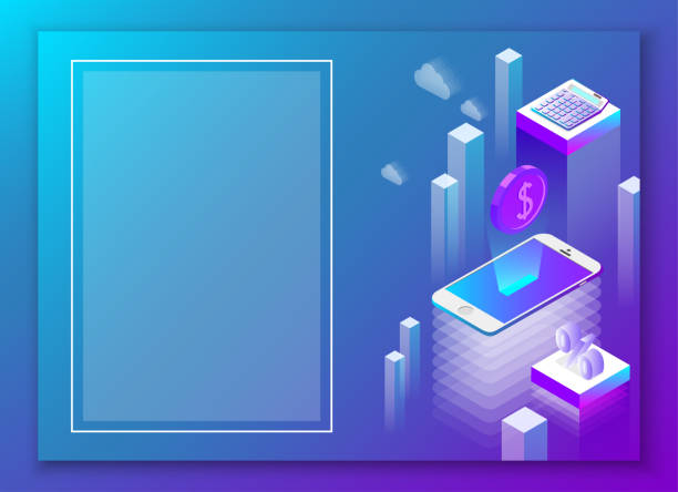Online business and mobile app. Abstract blue isometric background. Online business and mobile app. Blue background. Landing page or presentation template. Abstract isometric illustration. Vector 3d design. banking borders stock illustrations