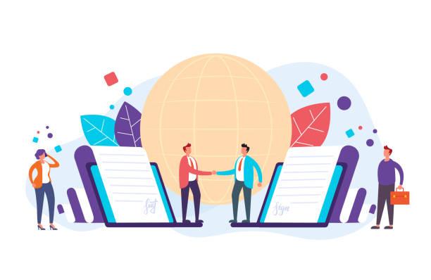 Online business deal concept. Vector flat graphic design illustration vector art illustration