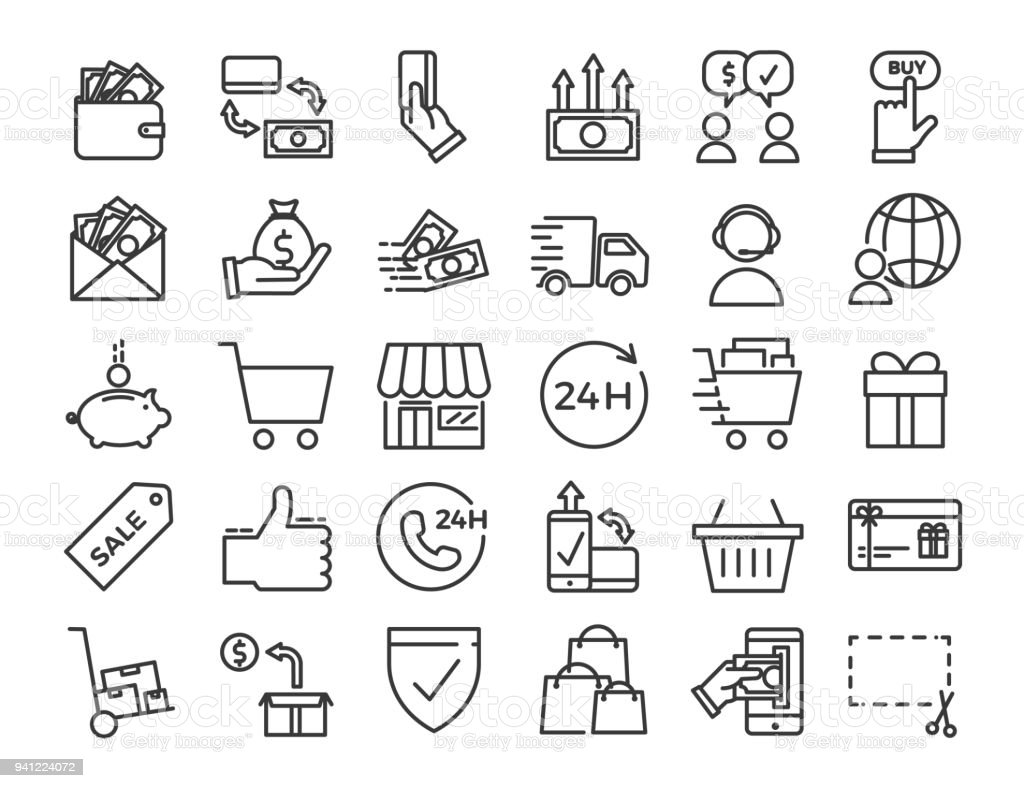 Online business, ecommerce, shop, market thin line icons. Vector Design illustration set with signs and symbols related with sales and commerce online. - Royalty-free 24 Hrs - Frase Curta arte vetorial