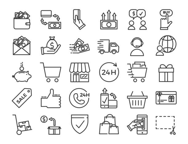 online business, ecommerce, shop, market thin line icons. vector design illustration set with signs and symbols related with sales and commerce online. - handel detaliczny stock illustrations