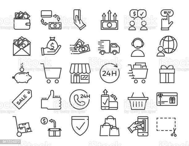Online Business Ecommerce Shop Market Thin Line Icons Vector Design Illustration Set With Signs And Symbols Related With Sales And Commerce Online - Arte vetorial de stock e mais imagens de 24 Hrs - Frase Curta