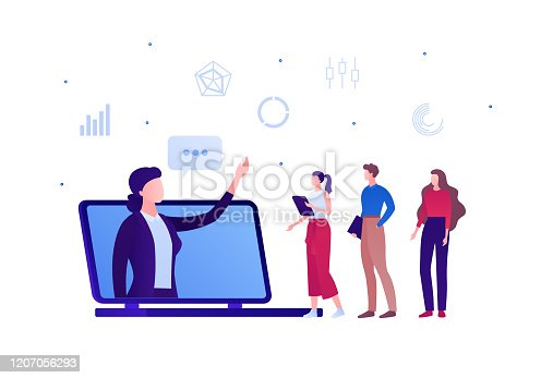 istock Online business education concept. Vector flat person illustration. Female proffesor in suit at laptop computer screen and student team. Design element for banner, poster, infographic, background 1207056293