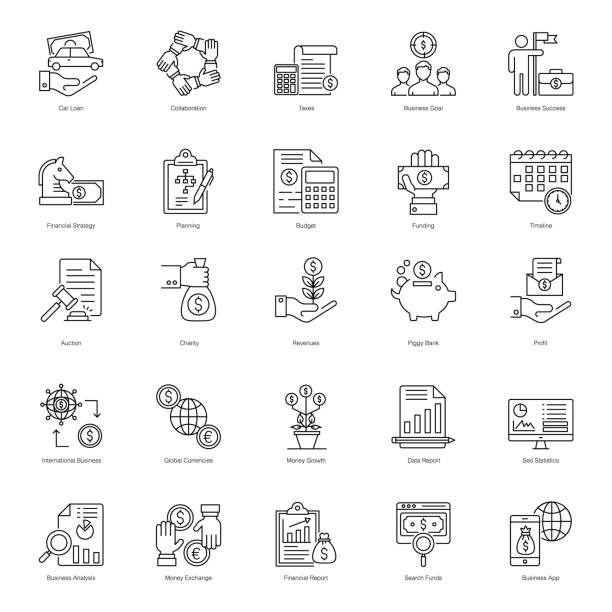 Online Business Line Icons Pack Working on a project that needs online business line icons? Then you are in the right place. This pack will exactly deliver what you are looking for. Download this editable pack of line vector by simply clicking on the download bar. accountancy stock illustrations