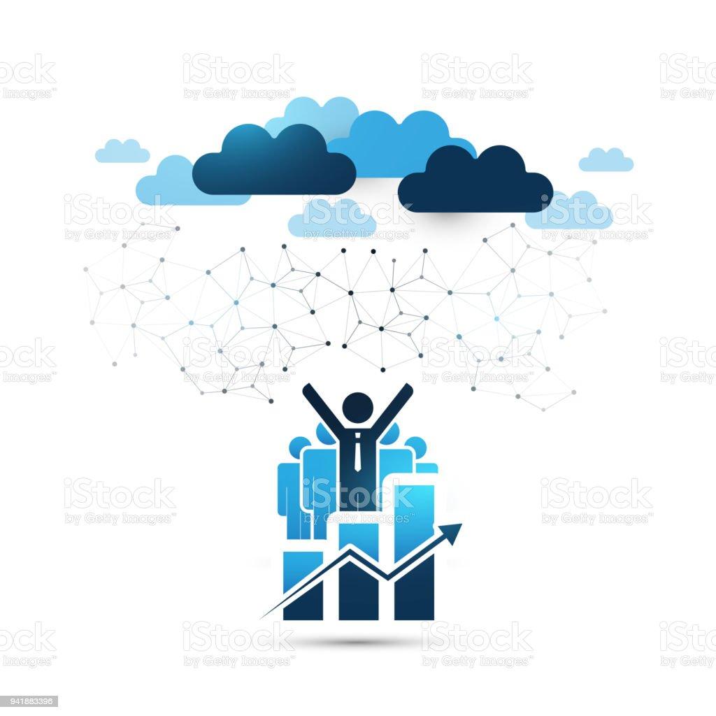 Online-Business Management, Cloud-Computing-Design-Konzept mit stehenden Geschäftsleute – Vektorgrafik