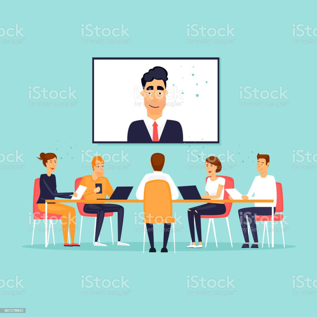 Online-Business-Meeting. Flaches Design-Vektor-Illustration. – Vektorgrafik