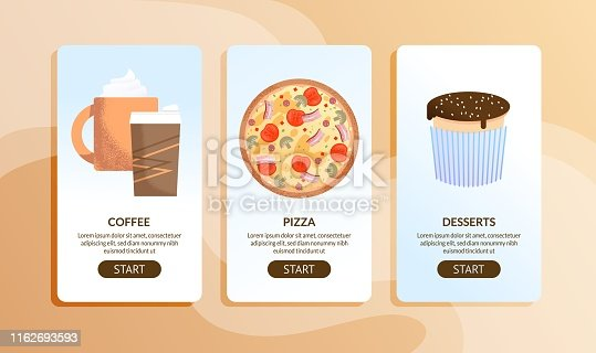 Online Cafe and Delivery Service Mobile Pages Set. Food Information via Internet. Coffee, Italian Pizza and Desserts. Vector Illustration in Flat Cartoon Style. Application Template. Restaurant Menu